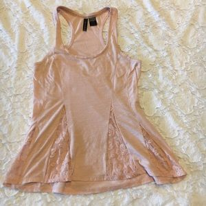 Light pink flare tank top with lace